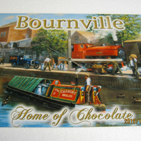 Bournville Chocolate Barge & Steam Train Enamel Wall Clock