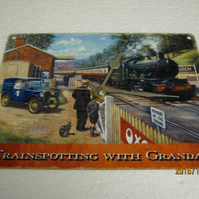 Trainspotting With Grandad Steam Train Enamel Wall Clock