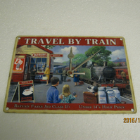 Travel By Train Steam Train Enamel Wall Clock