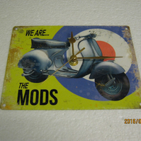 We Are The Mods Vespa, Lambretta Scooter Enamel Wall Clock