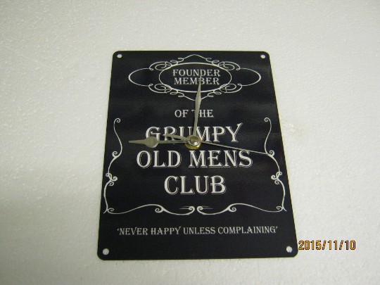 Grumpy Old Men Enamel Wall Clock