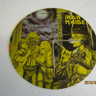 "Iron Maiden - ""Women In Uniform"" 7"" Vinyl Record Sleeve Wall Clock"