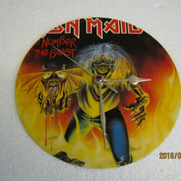 "Iron Maiden - ""The Number Of The Beast"" 7"" Vinyl Record Sleeve Wall Clock"