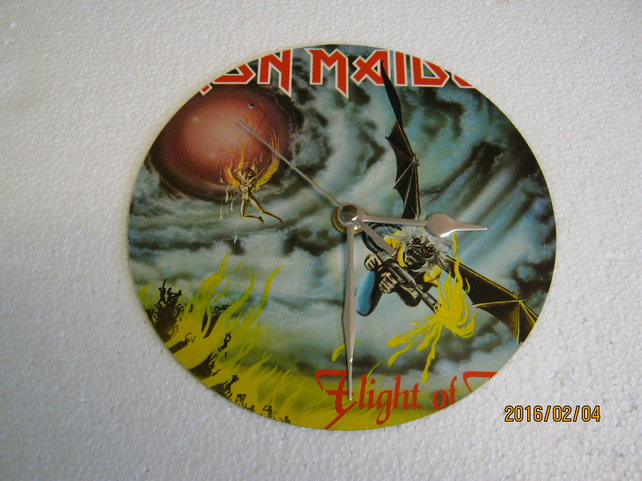 "Iron Maiden - ""Flight Of Icarus"" 7"" Vinyl Record Sleeve Wall Clock"