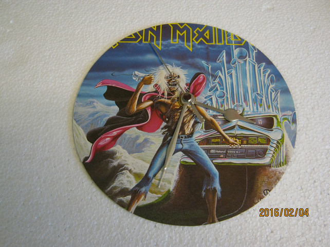 "Iron Maiden - ""Run To The Hills"" 7"" Vinyl Record Sleeve Wall Clock"