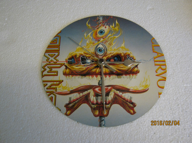 "Iron Maiden - ""The Clairvoyant"" 7"" Vinyl Record Sleeve Wall Clock"
