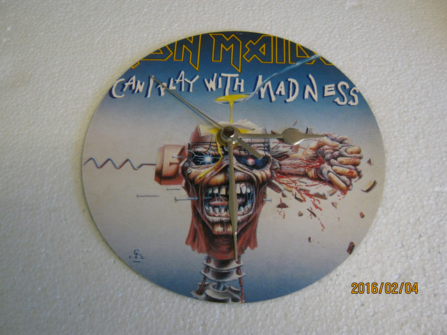 "Iron Maiden - ""Can I Play With Madness"" 7"" Vinyl Record Sleeve Wall Clock"