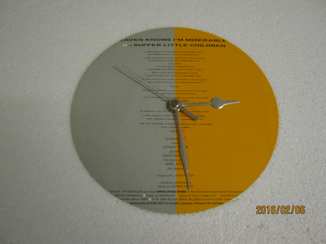 "The Smiths - ""Heaven Knows I'm Miserable Now"" 7"" Vinyl Record Sleeve Clock"