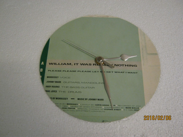 "The Smiths - ""William, It Was Really Nothing"" 7"" Vinyl Record Sleeve Clock"