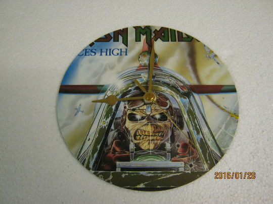"Iron Maiden - ""Aces High"" 7"" Vinyl Record Sleeve Wall Clock"