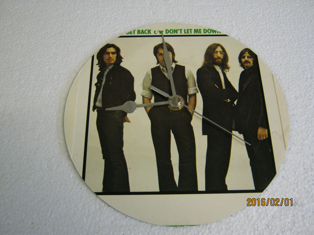 "The Beatles - ""Get Back"" 7"" Vinyl Record Sleeve Wall Clock"