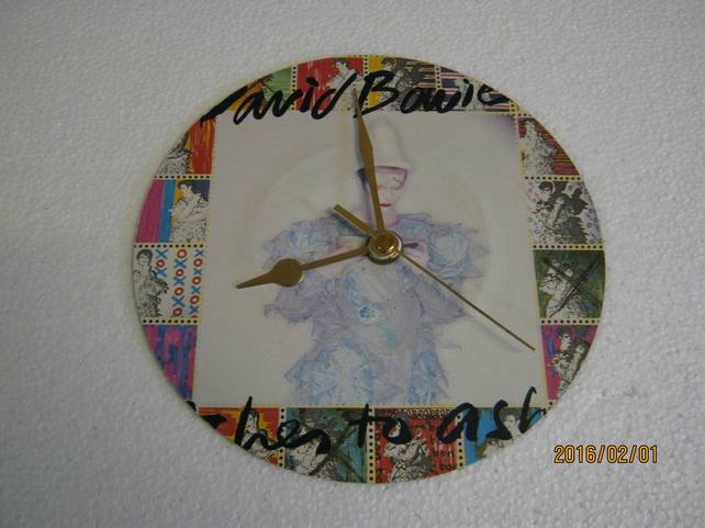 "David Bowie - ""Ashes To Ashes"" 7"" Vinyl Record Sleeve Wall Clock"