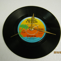 "Bob Marley & The Wailers - ""Satisfy My Soul"" 7"" Vinyl Record Wall Clock"