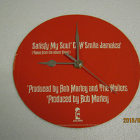 "Bob Marley & The Wailers - ""Satisfy My Soul"" 7"" Vinyl Record Sleeve Wall Clock"