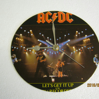 "AC DC - ""Let's Get It Up"" 7"" Vinyl Record Sleeve Wall Clock"