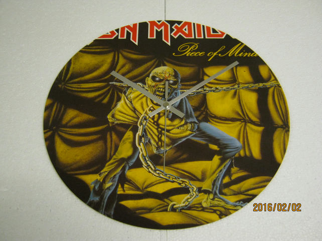 "Iron Maiden - ""Piece Of Mind"" 12"" Vinyl Record Sleeve Wall Clock"