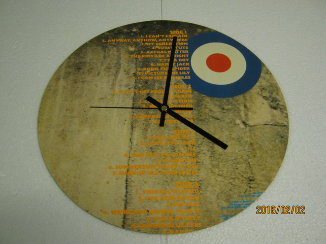 "The Who - ""The Collection"" 12"" Vinyl Record Sleeve Wall Clock"