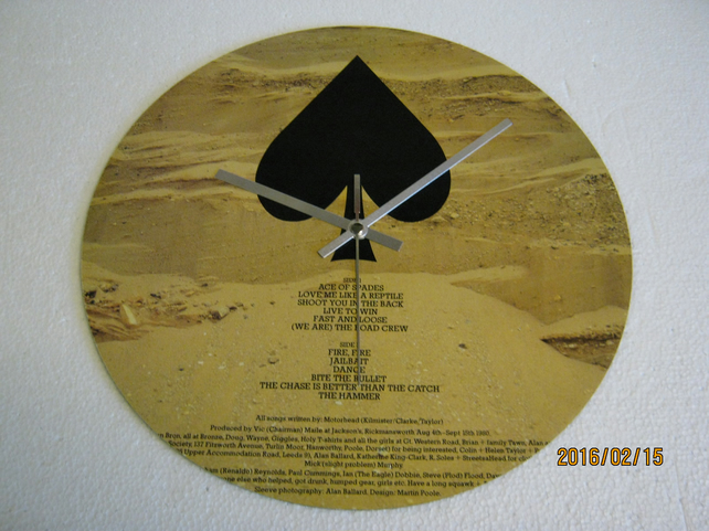 "Motorhead - ""The Ace Of Spades"" Vinyl Record Sleeve Wall Clock"