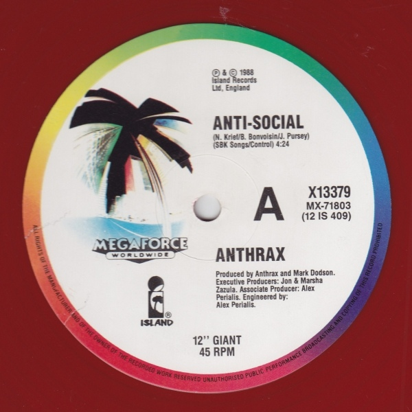 "Anthrax - ""Anti-Social"" Vinyl Record Wall Clock"