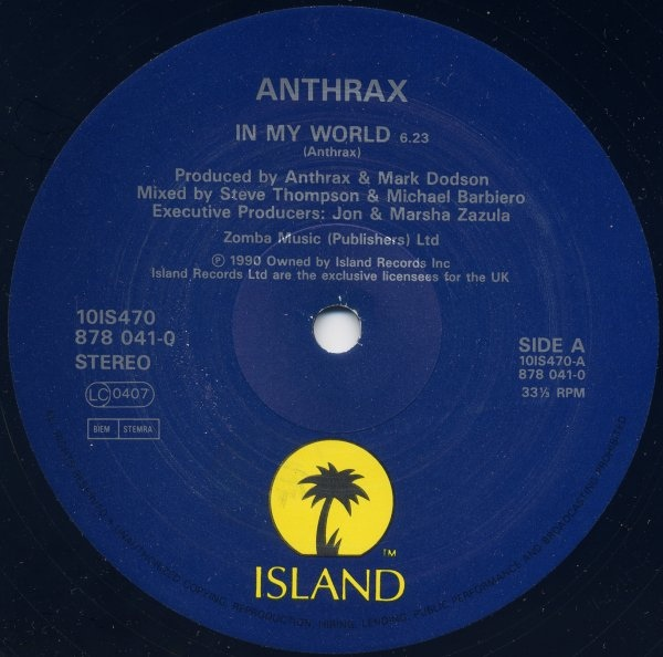 "Anthrax - ""In My World"" Vinyl Record Wall Clock"