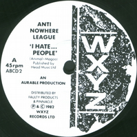 "Anti-Nowhere League - ""I Hate.....People"" Vinyl Record Wall Clock"