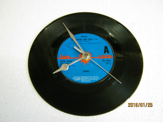 "Flame - ""Checkin' On You"" 7"" Vinyl Record Wall Clock"
