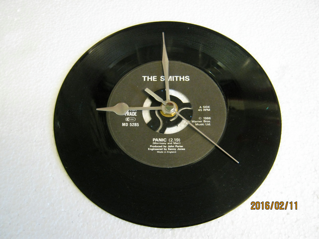 "The Smiths - ""Panic"" 7"" Vinyl Record Wall Clock"