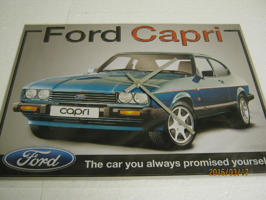 Ford Capri Metal Enamel Wall Clock