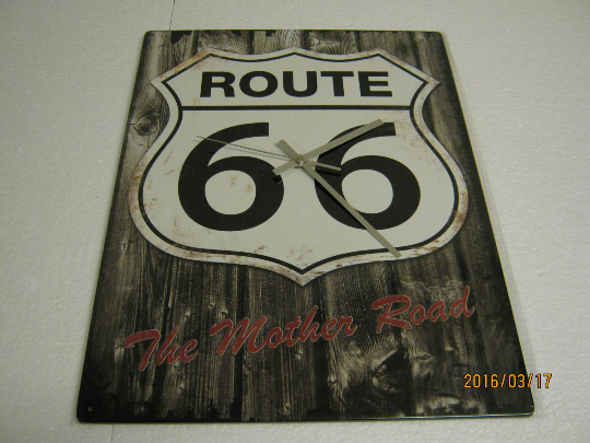 Route 66 Metal Enamel Wall Clock
