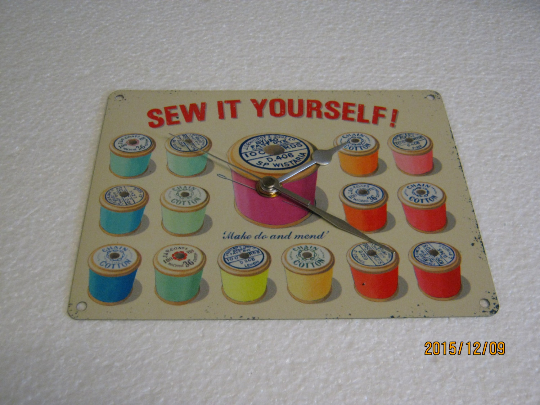 Sew It Yourself Haberdashery Metal Enamel Wall Clock