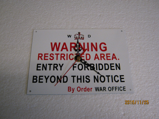 Warning - Restricted Area Metal Enamel Wall Clock