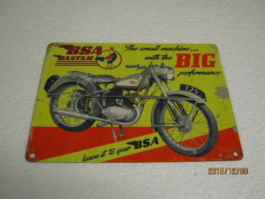 BSA Bantam Motorcycle Metal Enamel Wall Clock