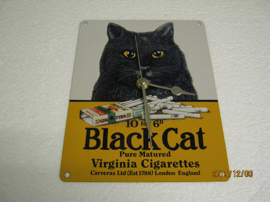 Black Cat Cigarettes Metal Enamel Wall Clock
