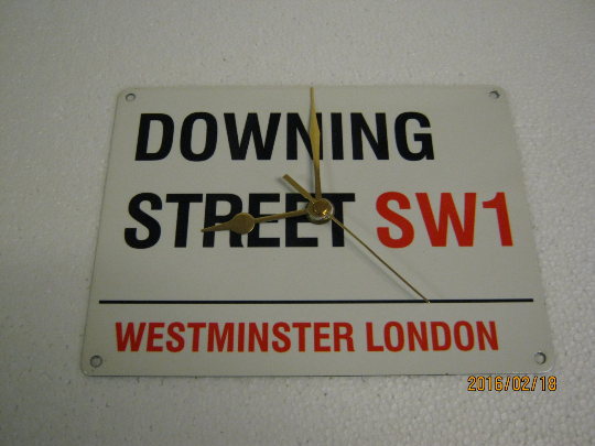 "City Of London Road Sign - ""Downing Street"" Metal Enamel Wall Clock"