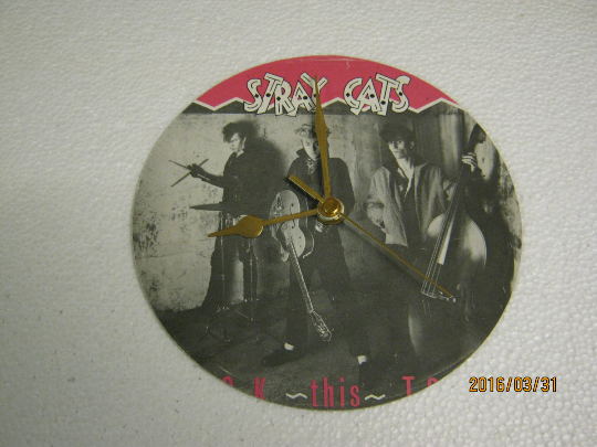 "The Stray Cats - ""Rock This Town"" Vinyl Record Sleeve Wall Clock"