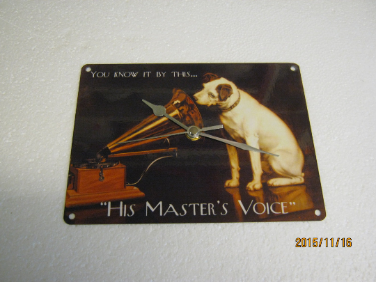HMV - His Master's Voice Metal Enamel Wall Clock