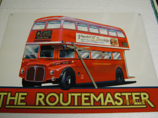 The Routemaster London Transport Red Bus Metal Enamel Wall Clock