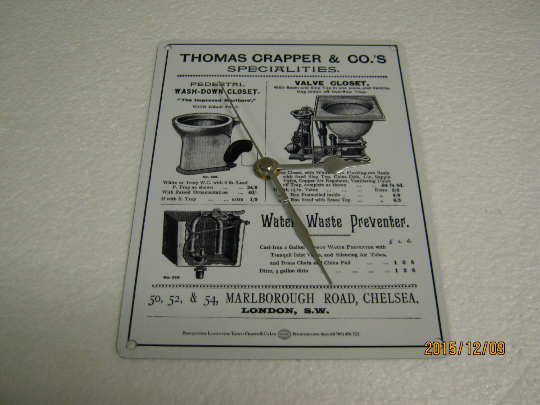 Thomas Crapper & CO.'s Speciality Toilets Enamel Metal Wall Clock