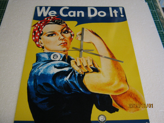 "Ministry of Defence ""We Can Do It"" Propoganda Metal Enamel Wall Clock"