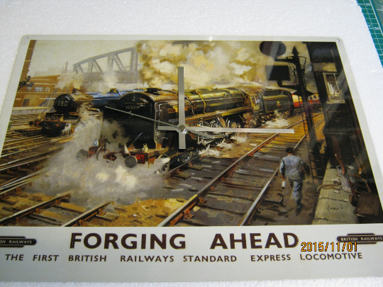 Forging Ahead British Railways Metal Enamel Wall Clock
