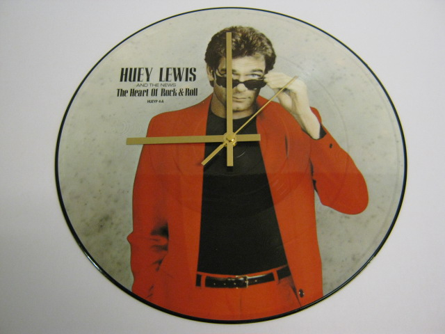 "Huey Lewis And The News - ""The Heart Of Rock"" Picture Disc Record Wall Clock"