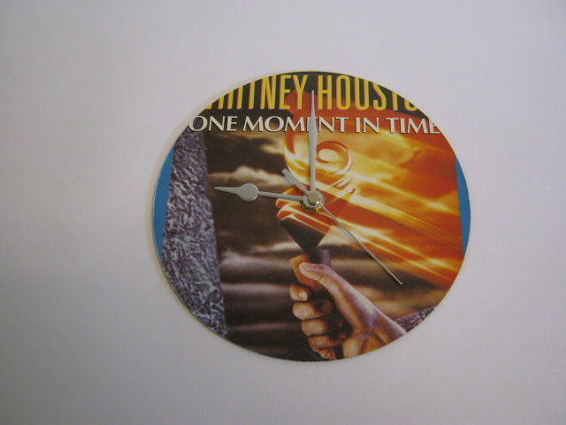 "Whitney Houston - ""One Moment In Time""  Vinyl Record Sleeve Wall Clock"