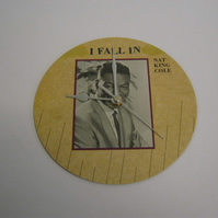 "Nat King Cole ""When I Fall In Love"" 7"" Vinyl Record Sleeve Wall Clock"