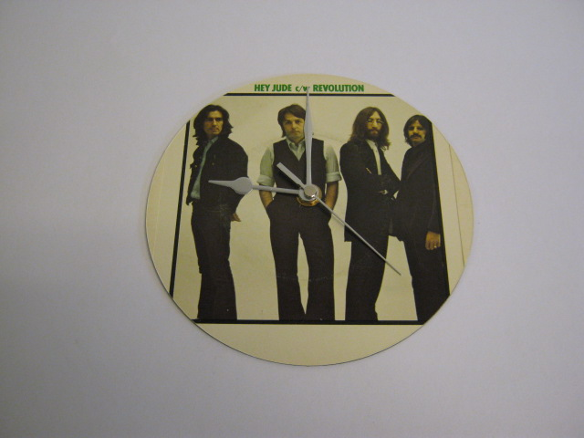 "The Beatles - ""Hey Jude"" 7"" Vinyl Record Sleeve Wall Clock"