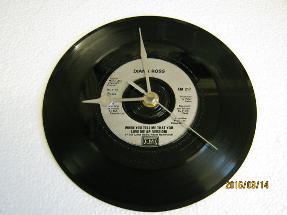"Diana Ross - ""When You tell Me That You Love Me"" 7"" Vinyl Record Wall Clock"