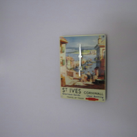 St Ives, Cornwall, British Rail Enamel Wall Clock
