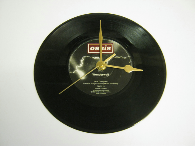 "Oasis - ""Wonderwall"" 7"" Vinyl Record Wall Clock"