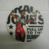 "Grace Jones - ""Pull Up To The Bumper "" 7"" Vinyl Record Sleeve Wall Clock"