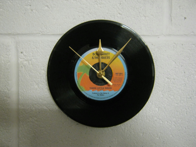 "Bob Marley - ""Three Little Birds"" 7"" Vinyl Record Wall Clock"