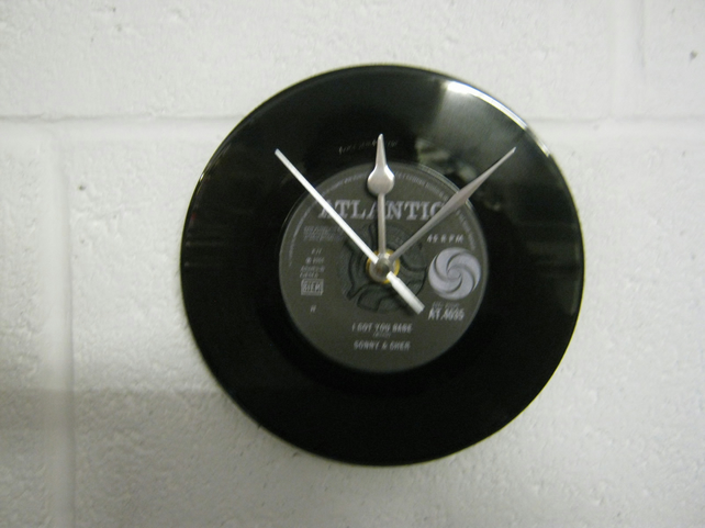 "Sonny & Cher  - ""I Got You Babe"" 7"" Vinyl Record Wall Clock"
